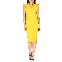 Jolie Moi - Yellow ruched bodycon dress