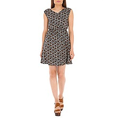 Tenki - Black geo print dress
