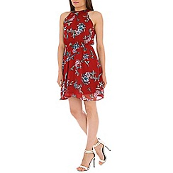 Tenki - Red halterneck floral dress