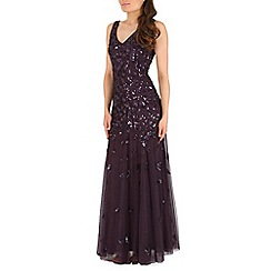 RubyRay - Purple maxi block sequin v-neck dress