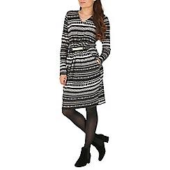 Mela - Grey knitted stripe belted dress