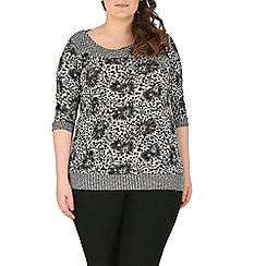 Samya - Multicoloured plus size floral multi-print top