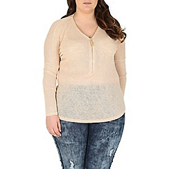 Samya - Beige oversized zip detail top
