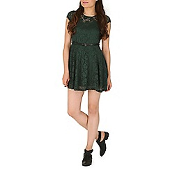 Mela - Green belted lace dress