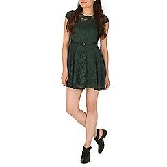 Mela - Green belted lace dress