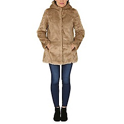 Mela - Brown hooded fur coat