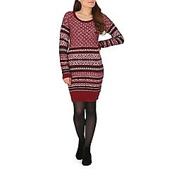 Mela - Dark red aztec knitted tunic dress