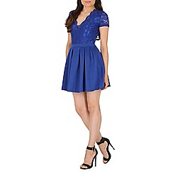Mela - Blue lace and scuba dress