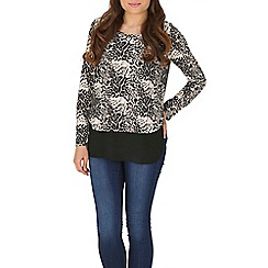 Izabel London - Black layered leopard print top