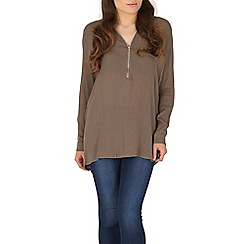 Izabel London - Khaki plain zip top