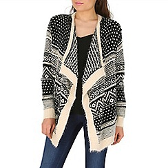 Mela - Cream aztec print waterfall cardigan
