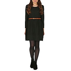 Mela - Black knitted belted dress