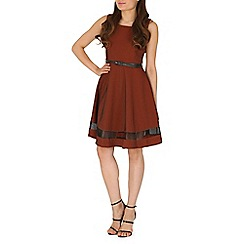 Amaya - Red mesh panel skater dress