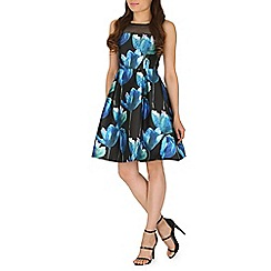 Amaya - Blue floral print a-line dress