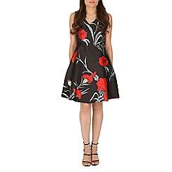 Amaya - Black floral print swing dress