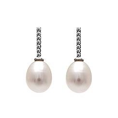 Kyoto Pearl - White bar drop earrings