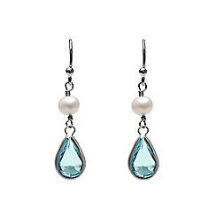 Kyoto Pearl - Blue dangling earrings