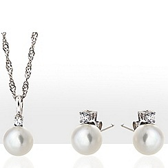 Kyoto Pearl - White pearl earrings and necklace set