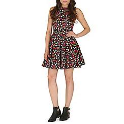 Izabel London - Black polka dot skater dress