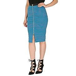 Izabel London - Blue stripe print zip detail skirt