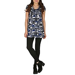 Izabel London - Blue cowl neck printed tunic dress
