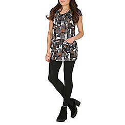 Izabel London - Grey cowl neck printed tunic dress