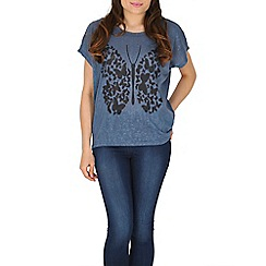 Izabel London - Blue graphic butterfly print top