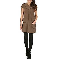 Izabel London - Brown pocketed tunic top