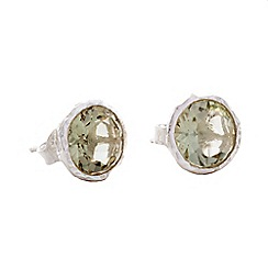 Banyan - Silver textured silver earrings, green