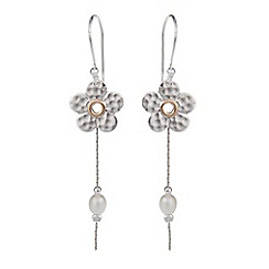 Banyan - Silver flower drop earrings with pearls