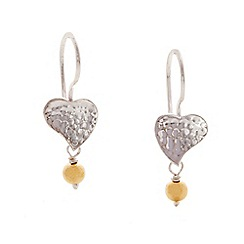 Banyan - Silver heart drop earring with brass bead