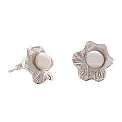 Banyan - Silver pearl flower stud earrings