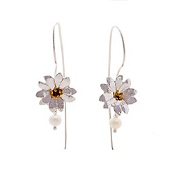 Banyan - Silver hook flower earring with pearl