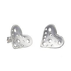 Banyan - Silver holey heart silver earrings