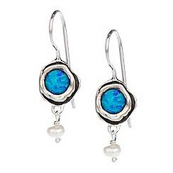 Banyan - Silver opalite and pearl drop earrings