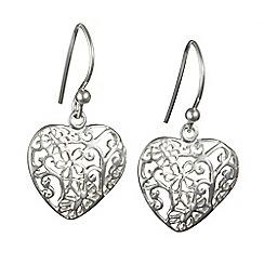 Banyan - Silver silver filagree heart earrings