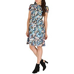 Mandi - Blue ruffle neck floral dress