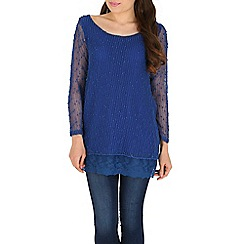 Mandi - Blue sequin layered tunic top