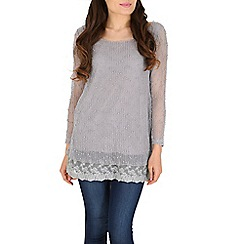 Mandi - Grey sequin layered tunic top