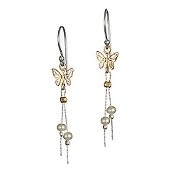 Banyan - Silver butterfly and pearl earrings