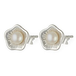 Banyan - Silver flower stud earrings with pearl