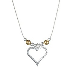 Banyan - Silver silver heart with gold bead