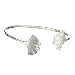 Banyan - Silver bangle with fanned leaves detail