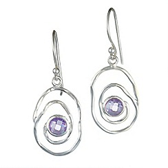 Banyan - Silver amethyst spiral earrings
