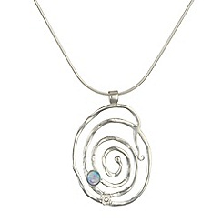 Banyan - Silver textured silver spiral pendant set with
