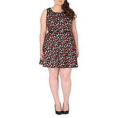 Samya - Black polka dot skater dress