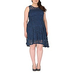 Samya - Navy lace overlay dress
