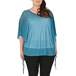 Samya - Navy dipped hem batwing top