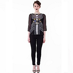 Wolf & Whistle - Black placement print beaded top