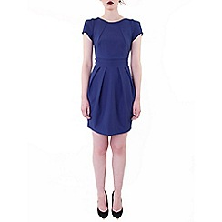 Wolf & Whistle - Blue texture tailored dress navy